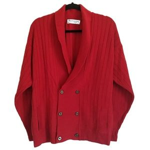 Burberry Red Cardigan Sweater Pure New Wool Sz 42""